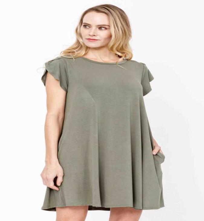 Jackie Z Bamboo Tulip Sleeve Dress In Olive