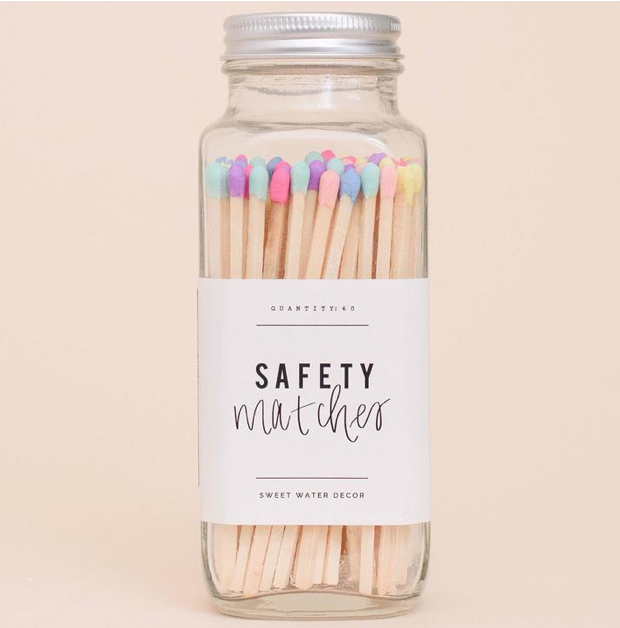 SWD Rainbow Safety Matches In A Glass Jar