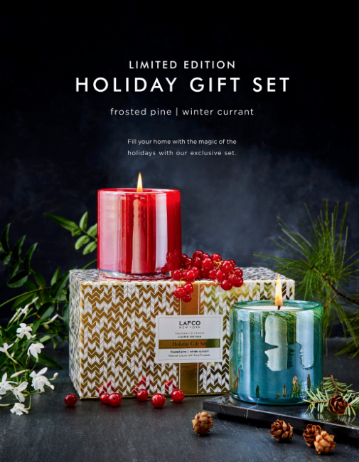 LAFCO New York Candle Set With Winter Currant & Frosted Pine