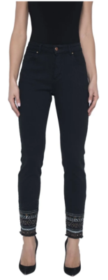 Frank Lyman Jeans with Bead Detailing in Black