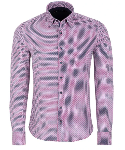 Stone Rose Geometric Print Long Sleeve Shirt in Navy And Pink