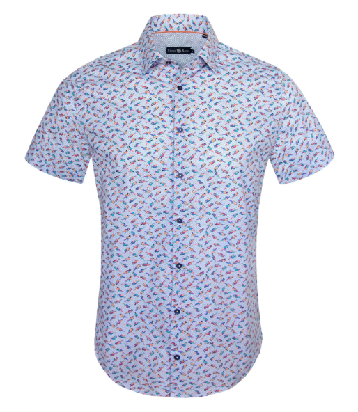 Stone Rose Parrot Print Short sleeve Shirt in Blue