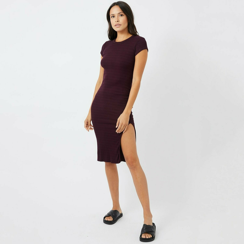 Monrow Super Soft Rib Capped Sleeve Dress in Merlot