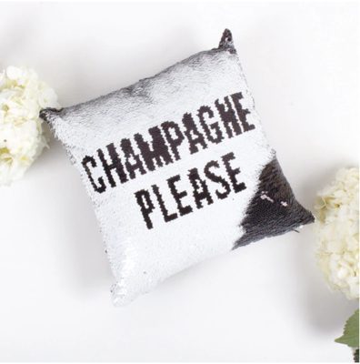 8 Oak Lane Champagne Pillow in Silver and Black