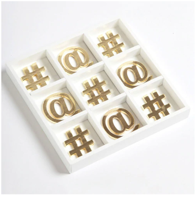 8 Oak Lane #TicTacToe Tray in White and Gold