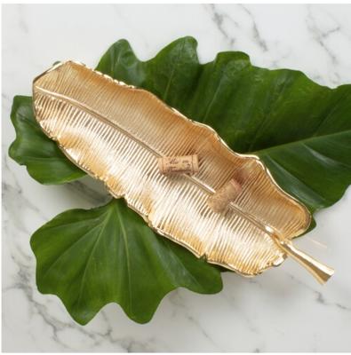 8 Oak Lane Banana Leaf Vanity Tray in Gold