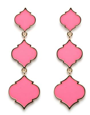 Fornash Triple Spade Earrings in Bubblegum Pink