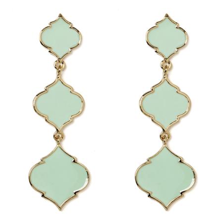 Fornash Enamel Triple Spade Earrings in Mint