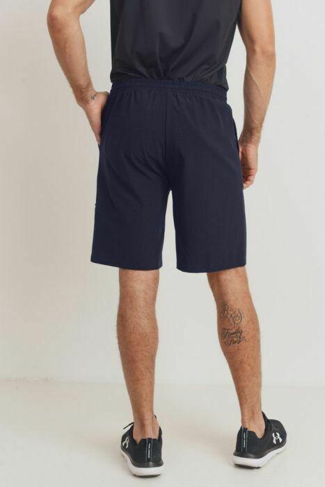 Mono B MEN Essential Drawstring Shorts W/ Zippered Pouch In Navy