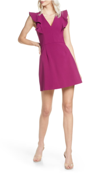 French Connection Whisper Ruffle V-Neck Dress In Rich Fig