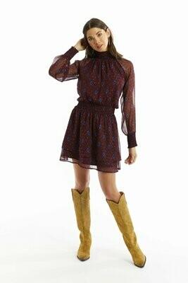 Allison Collection Metallic Ikat Smocked Mini Dress in Maroon