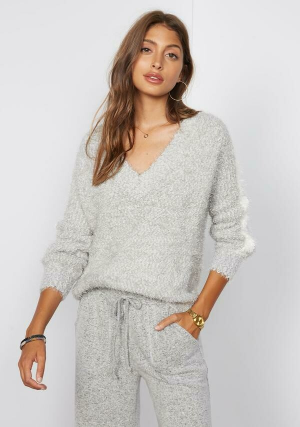 Tart Collections Vivienne Sweater In Light Grey With White Stripe