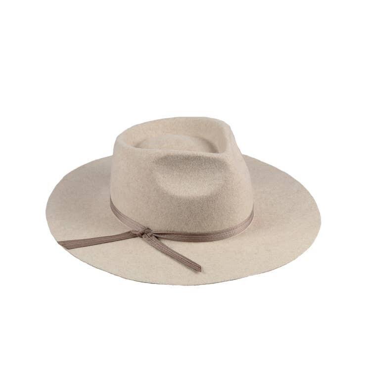 Jackie Z Wool Felt Fedora Hat in Oat