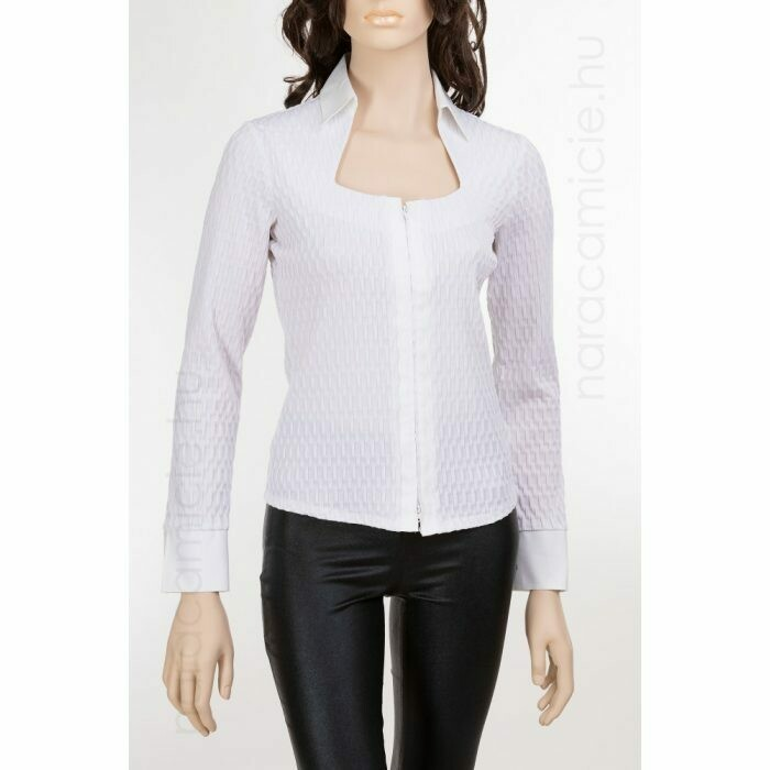 Naracamicie Woman's Long Sleeve Wavy Button Down Blouse In White
