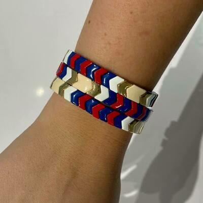 JZ StackZ Bracelets Neutral, Blue and Red