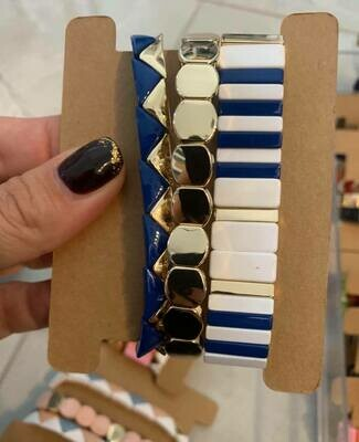 JZ StackZ Bracelets in Blue, White and Gold