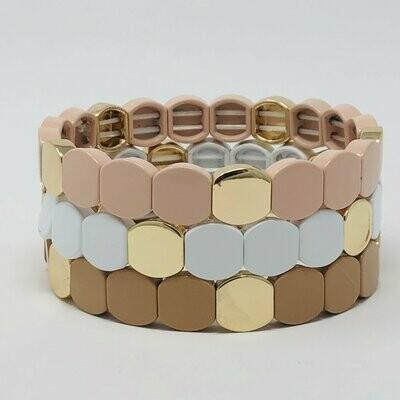 JZ StackZ Neutral Tone Octagon Bracelets