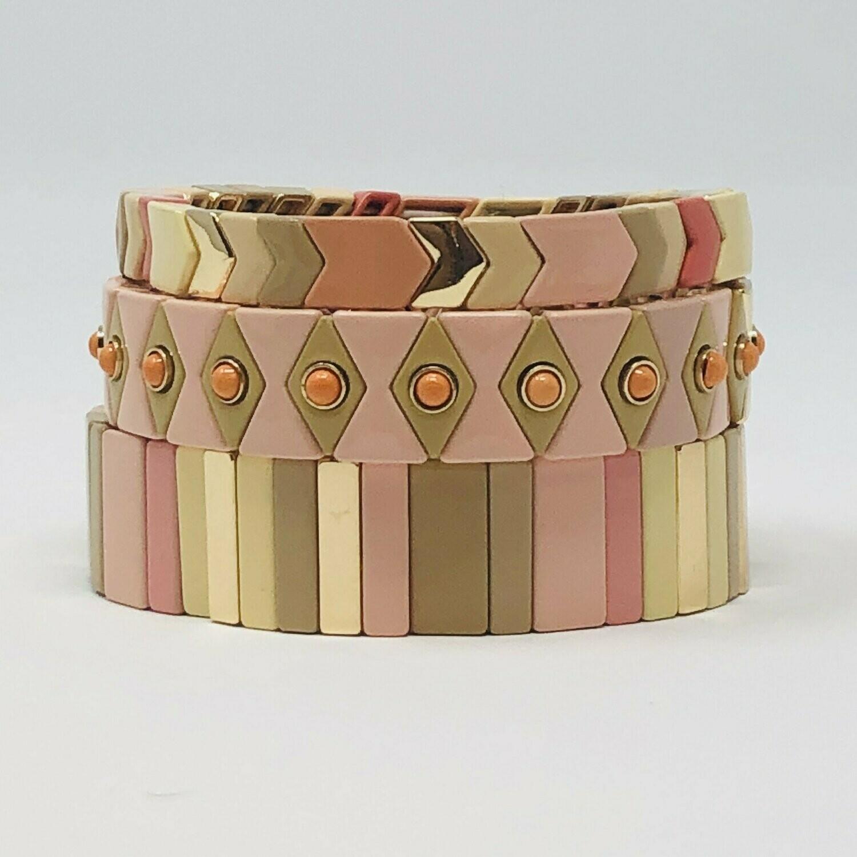 JZ StackZ Bubble Gum Pink Neutrals Stack Bracelets