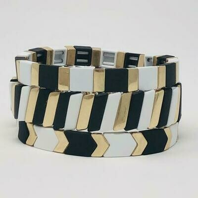 JZ StackZ Matte Finish Black, White and Gold Bracelets