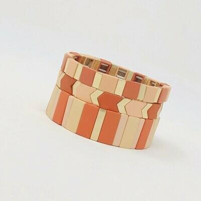 JZ StackZ Matte Finish Coral Pez Bracelets