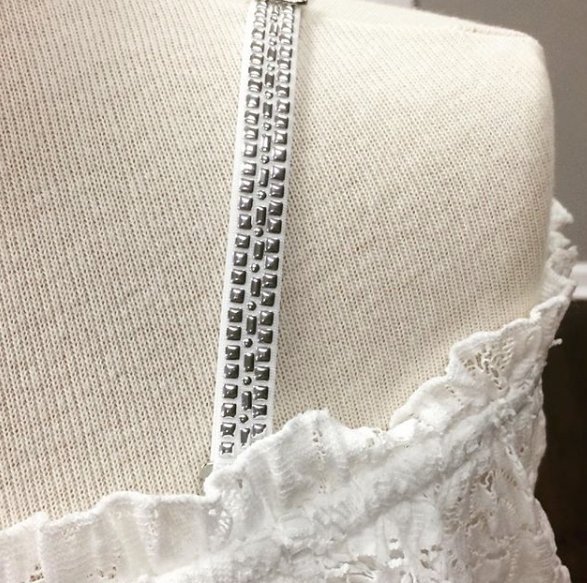 Strap-Its White Bra With Silver Studs
