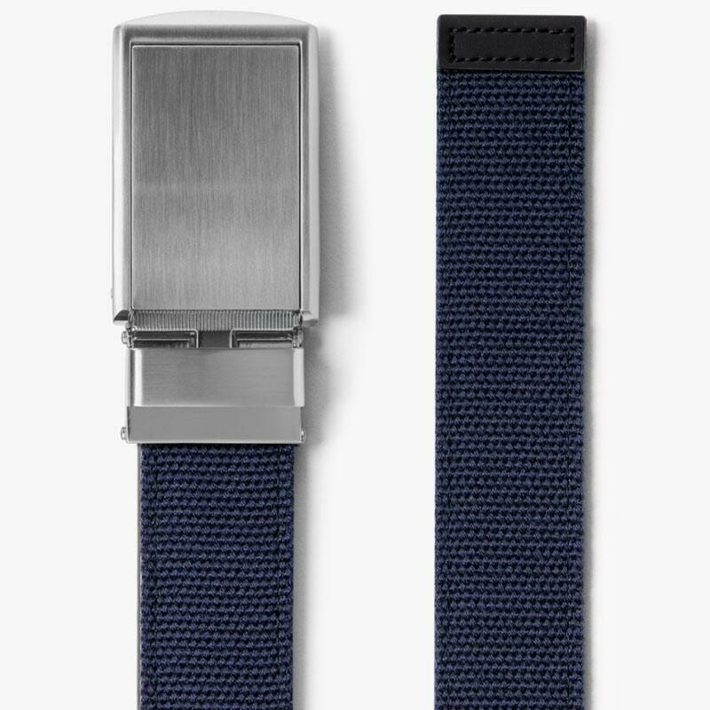 Slide Belt Navy Canvas Belt With Silver Buckle