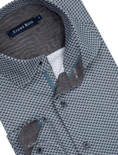 Stone Rose Navy Dry Touch Fan Print Long Sleeve Shirt