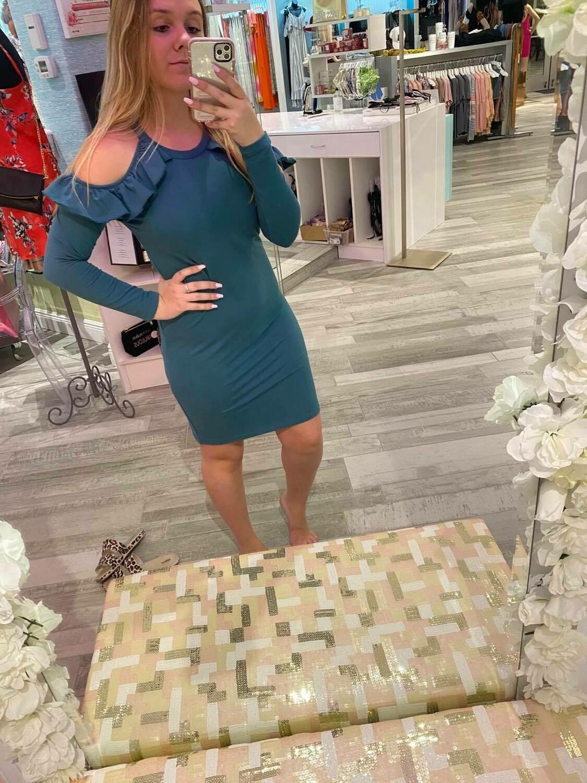 Jackie Z Open Shoulder Solid Dress In Teal