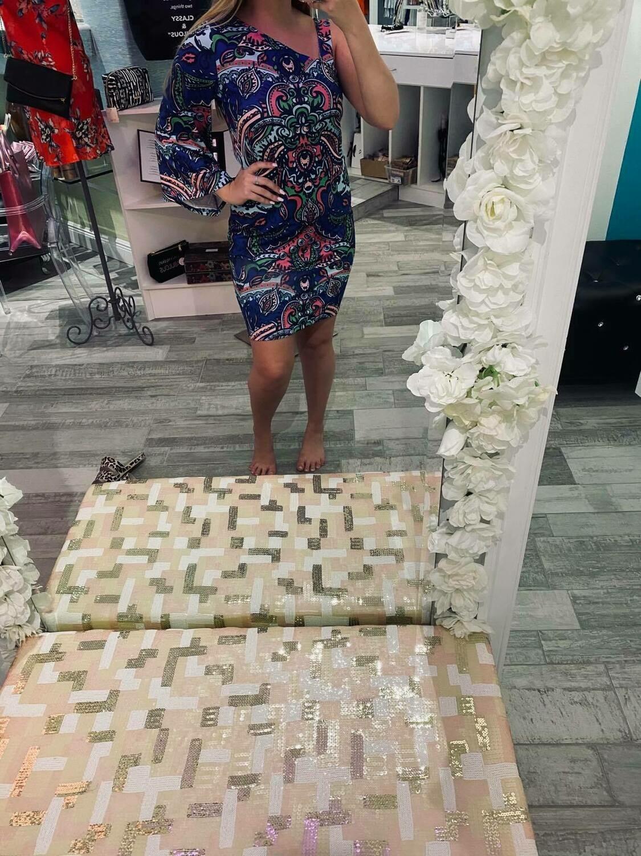 Jackie Z One Shoulder Long Sleeve Dress In Neon Floral