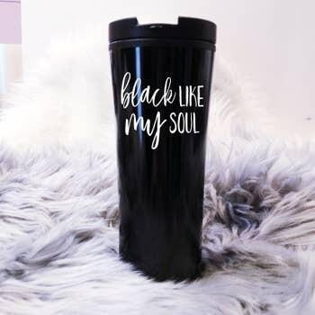 Jackie Z Black Like My Soul Travel Cup