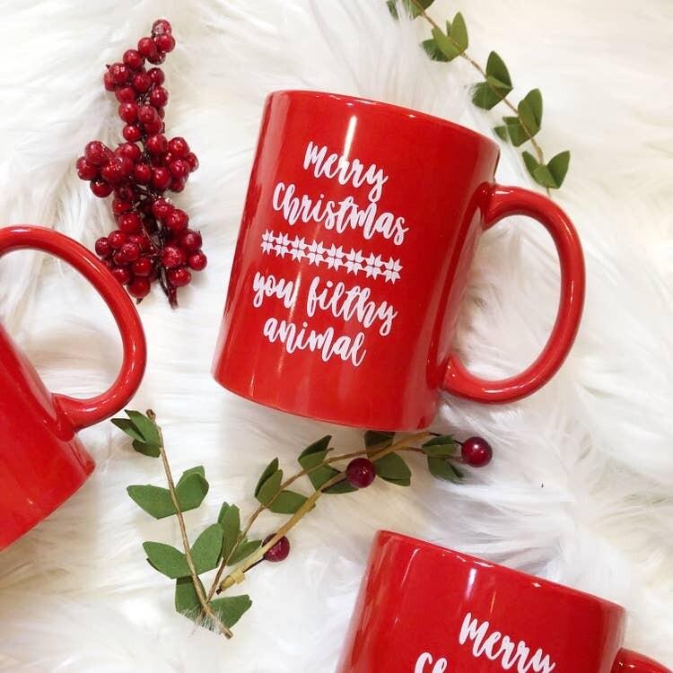 Jackie Z Merry Christmas You Filthy Animal Coffee Mug
