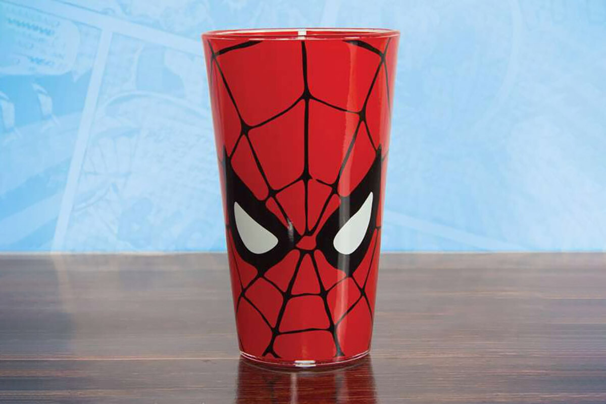 Spiderman Drinks Glass Marvel Comics