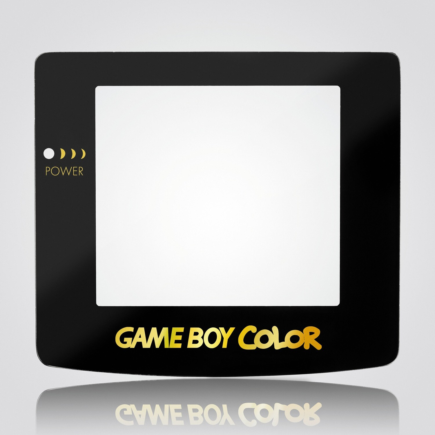 Game Boy Color Glass Screen (Black Gold Text)