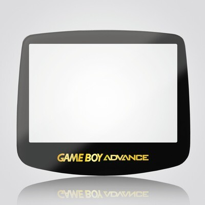 Game Boy Advance IPS Glass Screen (Black Gold Text)