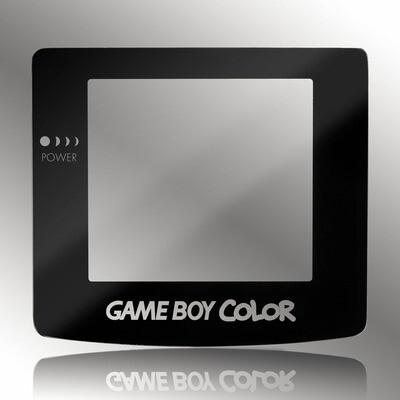 Game Boy Color Glass Screen (Black Transparent Text)