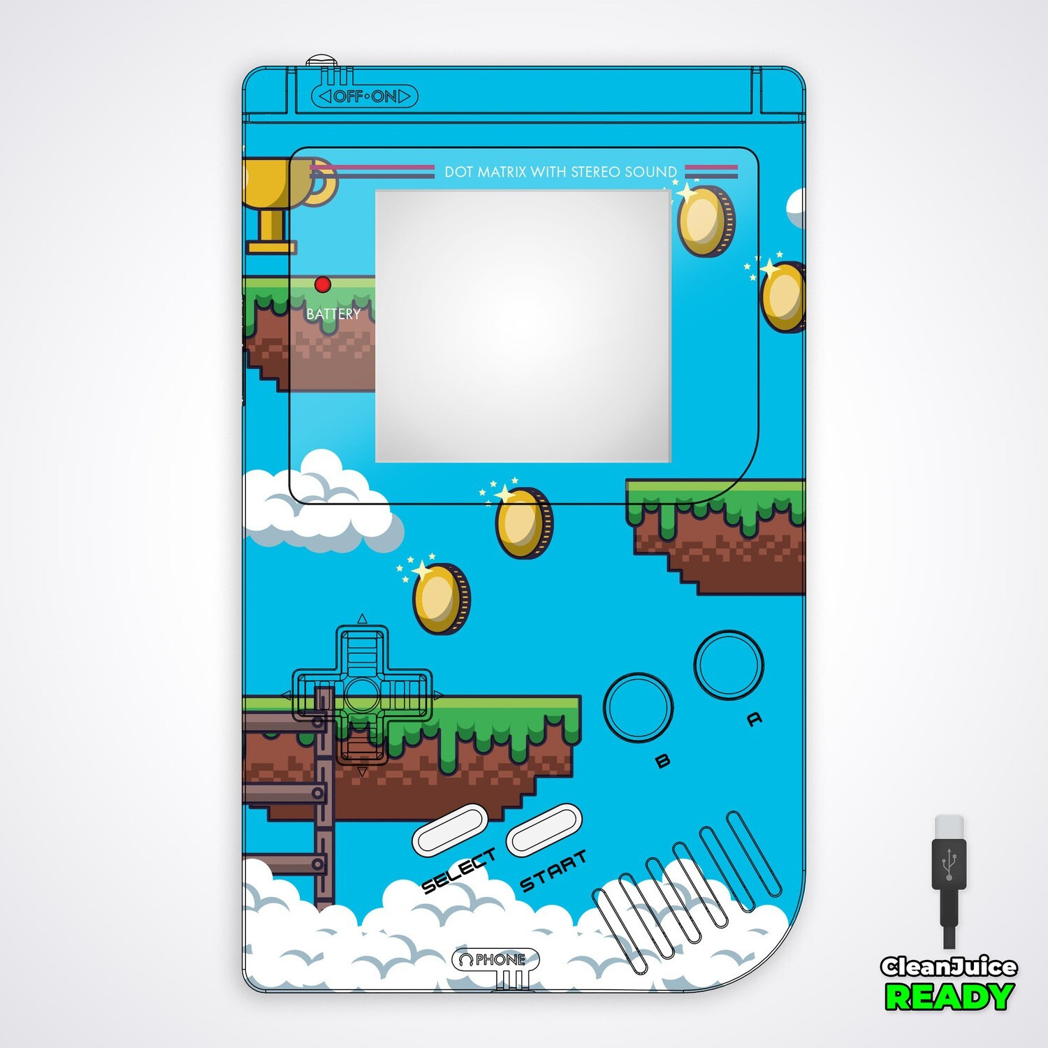 Game Boy Original IPS USB-C UV Shell Kit (Platformer 1)