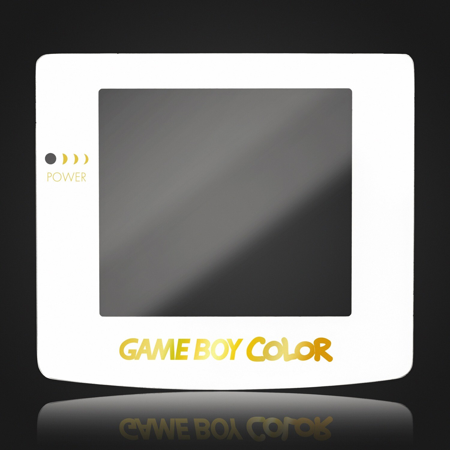 Game Boy Color Glass Screen (White Gold Text)