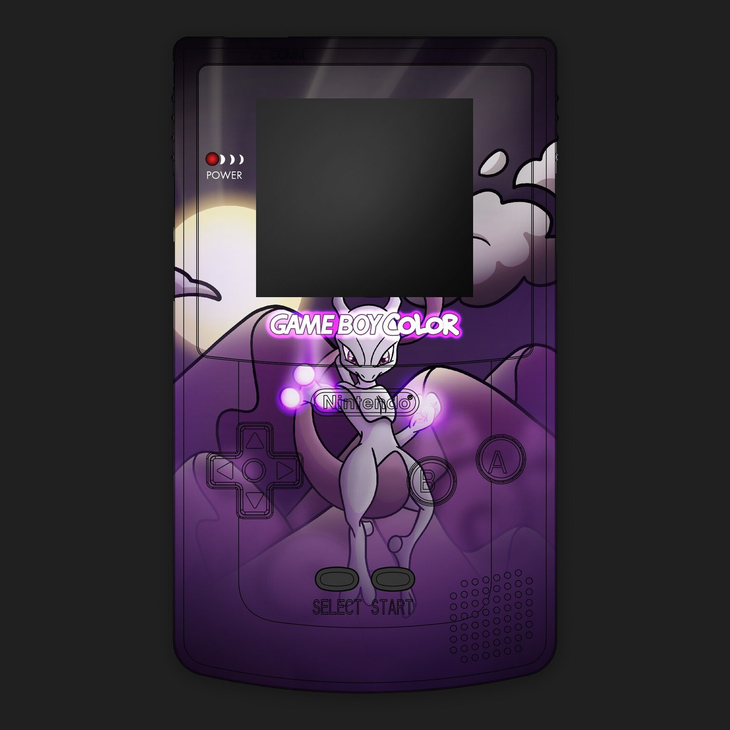 Game Boy Color Printed Shell (Mewtwo Pokemon)