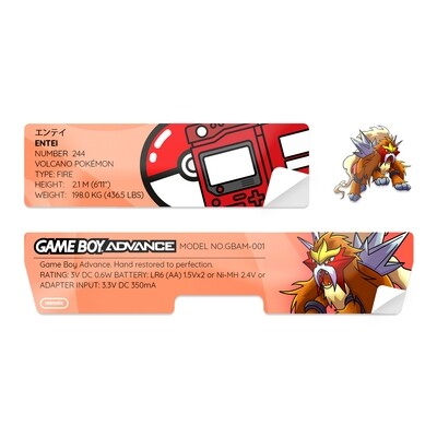 Game Boy Advance Sticker (Entei)