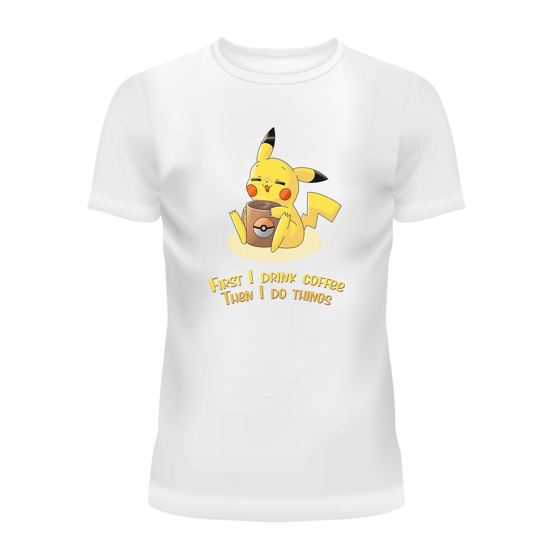 Cotton T-Shirt (Pikachu Coffee)