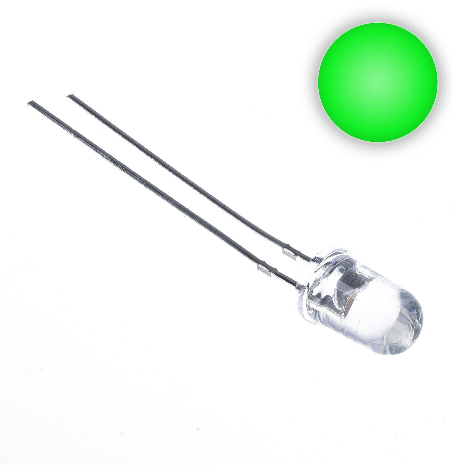 3mm Water Clear LED (Green)