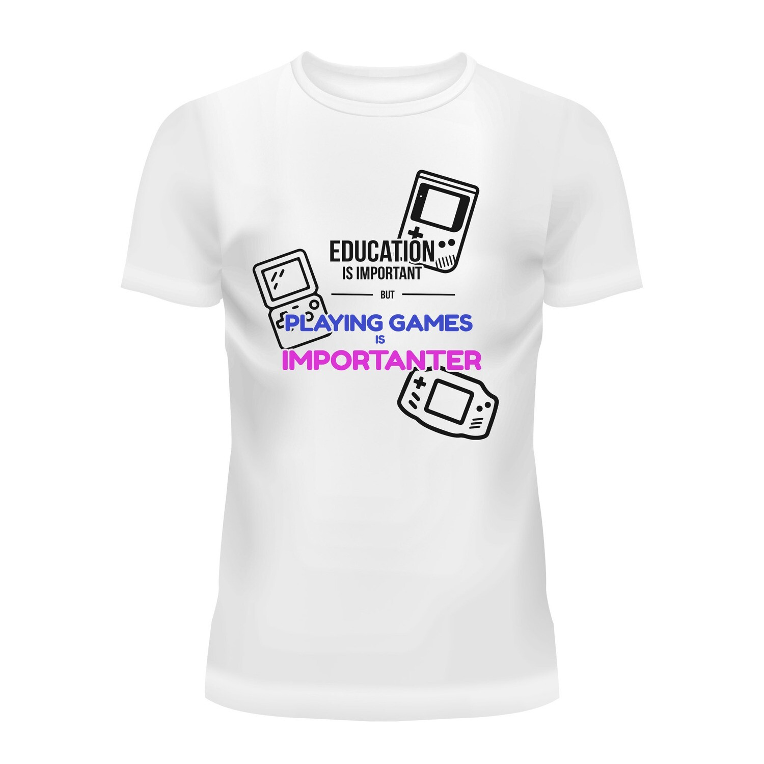 Cotton T-Shirt (Playing Games is Importanter)