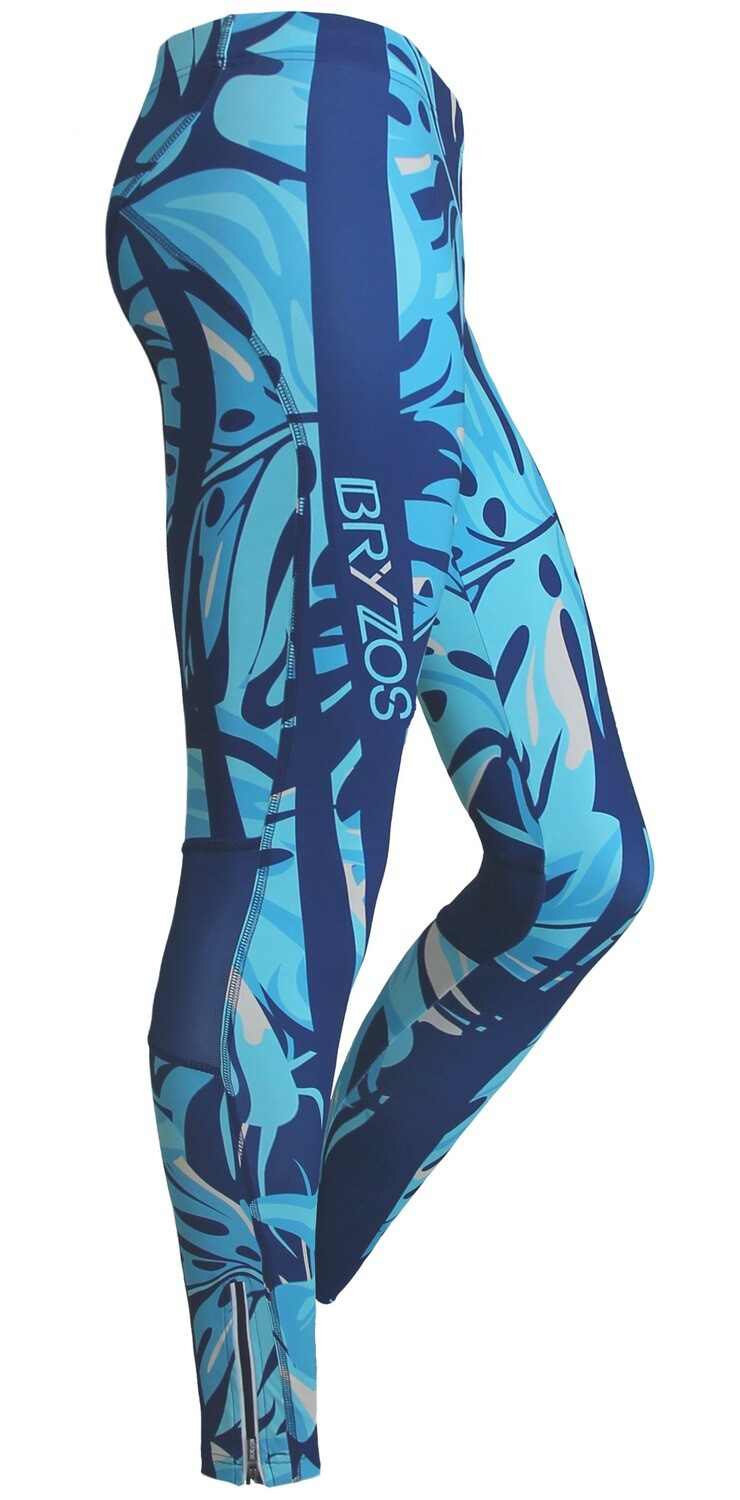 Long running tights Floral Turquoise
