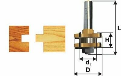 Фреза комбинированная пазо-шиповая d 41 х 19 мм,  хвостовик 12 мм