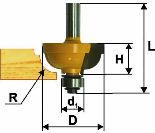 Фреза кромочная калёвочная d 25,4 х 13 мм, r 4,8  хвостовик 8 мм
