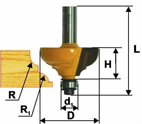 Фреза кромочная калёвочная d 28,6 х 13 мм, r 4,0  хвостовик 8 мм
