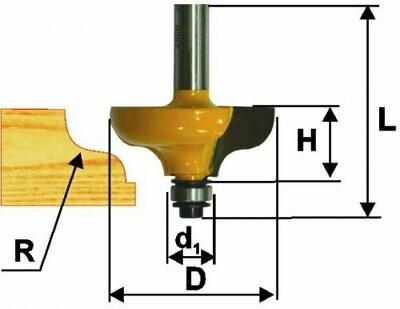 Фреза кромочная калёвочная d 31,8 х 13 мм, r 4,8  хвостовик 8 мм