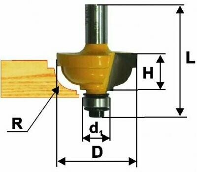 Фреза кромочная калёвочная d 34,9 х 17 мм, r 9,5  хвостовик 8 мм