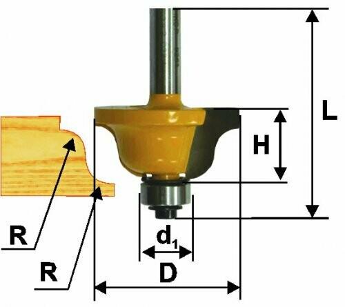 Фреза кромочная калёвочная d 38,1 х 17 мм, r 6,4  хвостовик 8 мм