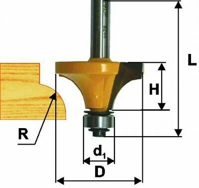Фреза кромочная калёвочная d 57,1 х 29 мм, r 22,2  хвостовик 12 мм